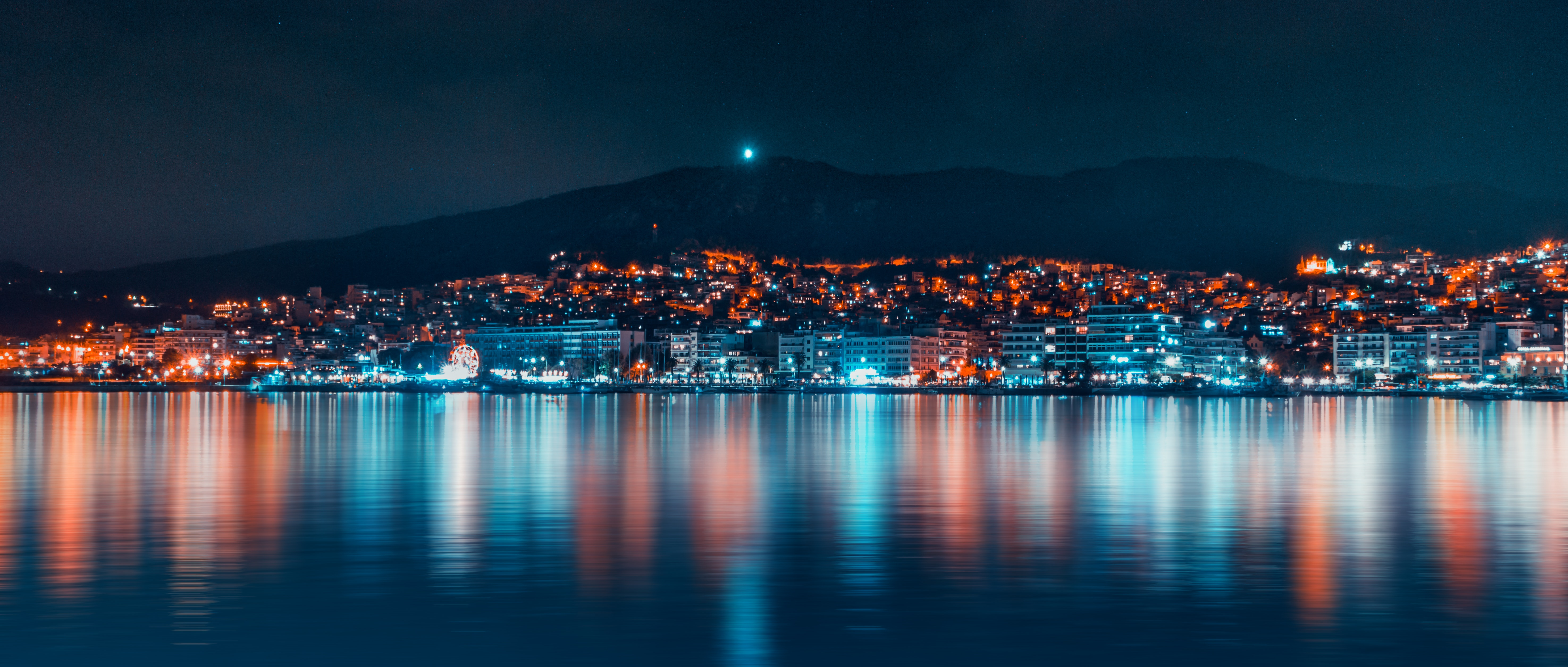 137842 free wallpaper 1080x2340 for phone, download images Cities, Night, Reflection, Coast, Night City, Panorama 1080x2340 for mobile