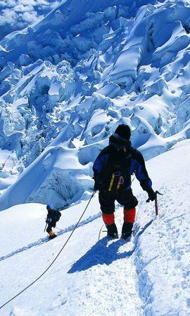 92884 descargar fondo de pantalla Deportes, Escalador De Rocas, Alpinista, Nieve, Vértice, Arriba, Conquista, Montañas: protectores de pantalla e imágenes gratis
