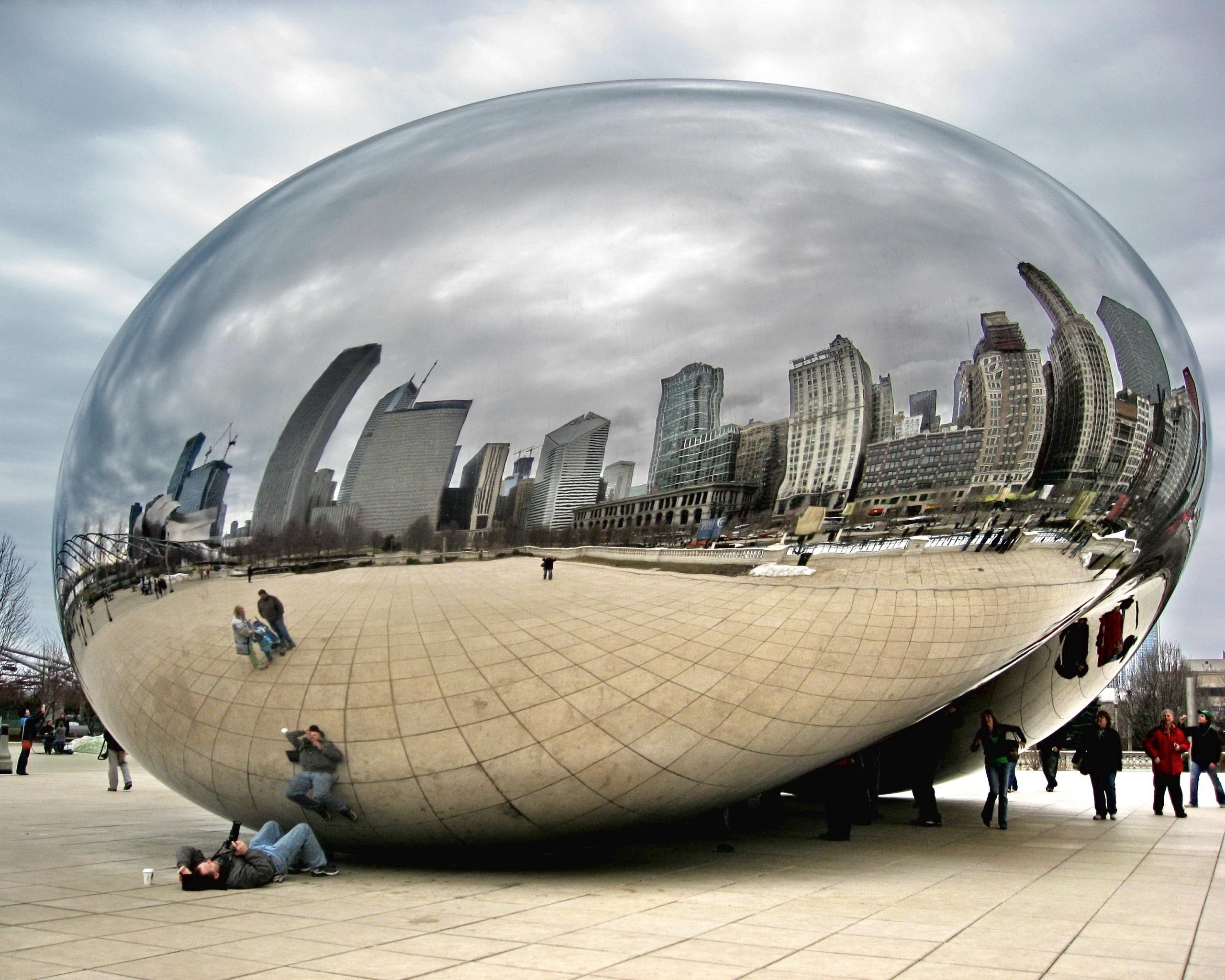 86156 télécharger le fond d'écran Miroir, Personnes, Ville, Touristes, Réflexion, Chicago, Villes - économiseurs d'écran et images gratuitement