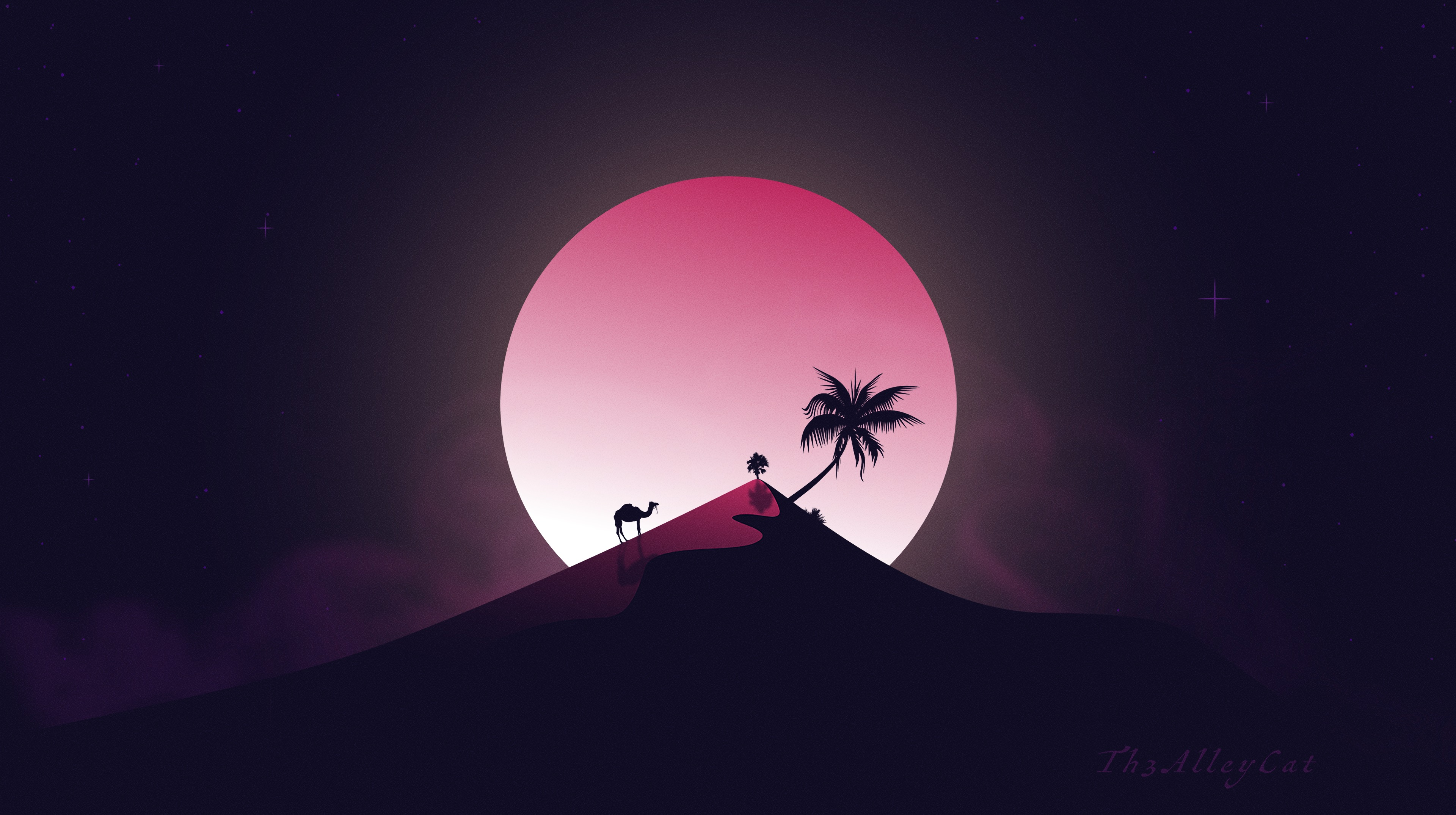 155770 Screensavers and Wallpapers Moon for phone. Download Hill, Moon, Camel, Palm, Art, Desert pictures for free