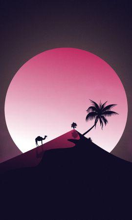 155770 Заставки и Обои Пустыня на телефон. Скачать Холм, Луна, Верблюд, Пальма, Арт, Пустыня картинки бесплатно