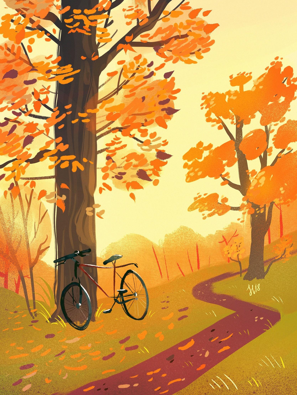 157724 скачать обои Велосипед, Лес, Тропинка, Осень, Арт - заставки и картинки бесплатно