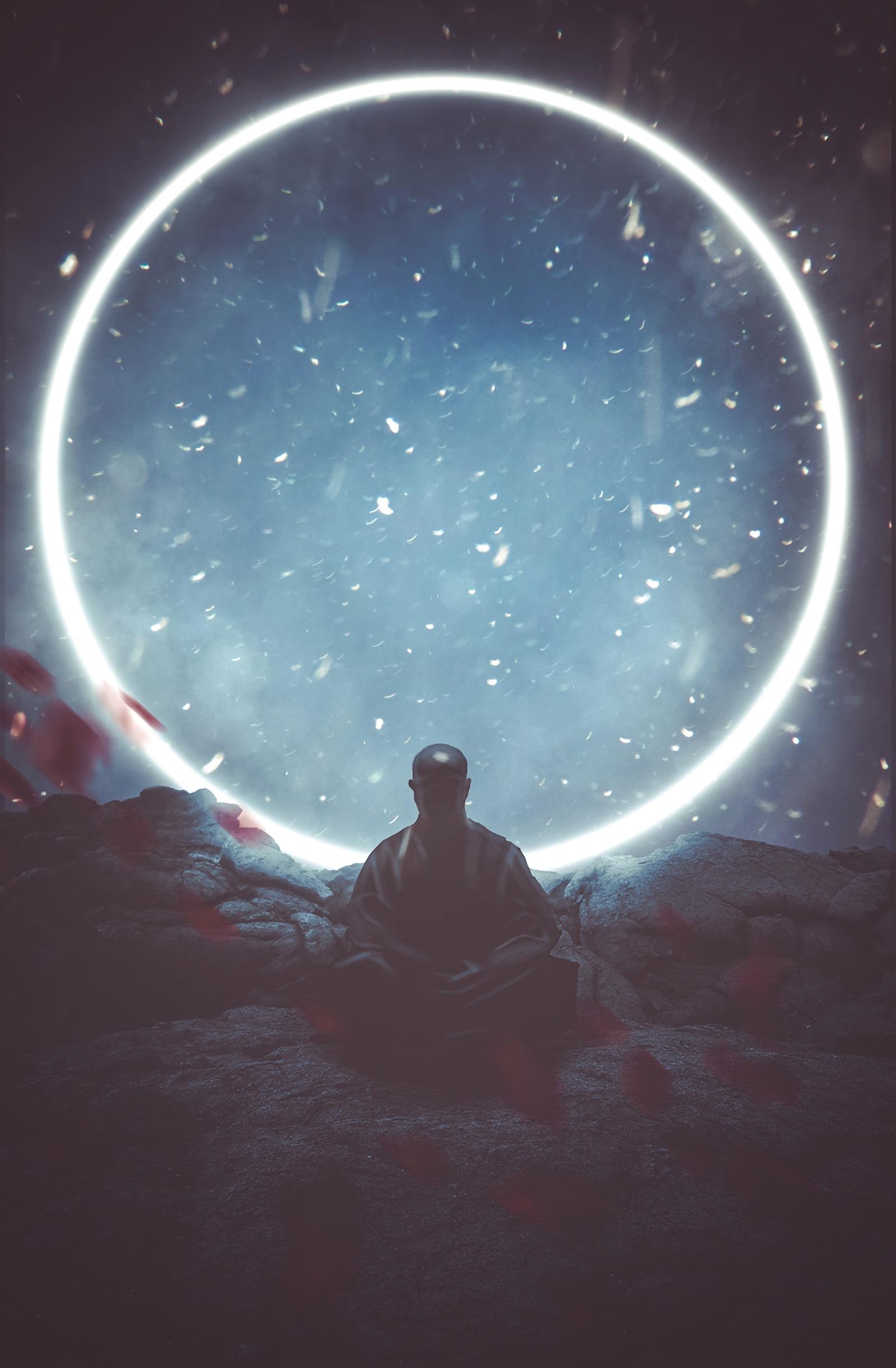 59435 скачать обои Арт, Будда, Медитация, Буддизм, Круг, Свечение - заставки и картинки бесплатно