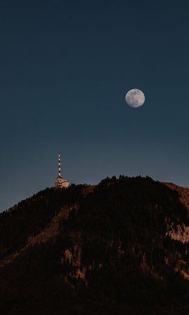 117132 télécharger le fond d'écran Nature, Lune, Colline, La Tour, Tour, Arbres - économiseurs d'écran et images gratuitement