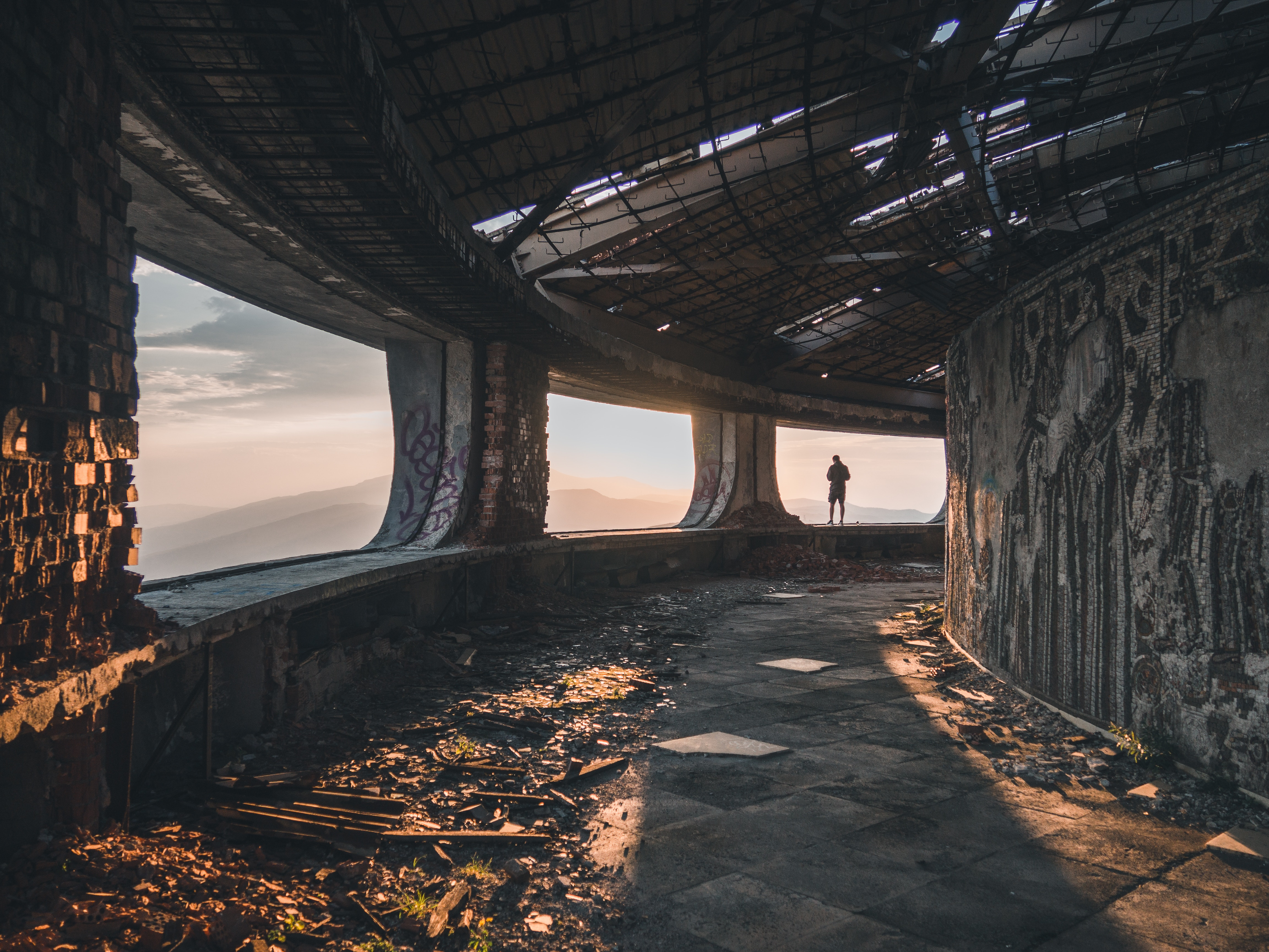 68767 Screensavers and Wallpapers Cities for phone. Download Cities, Human, Person, Loneliness, Bulgaria, Ruin, Ruins, Buzludzha pictures for free