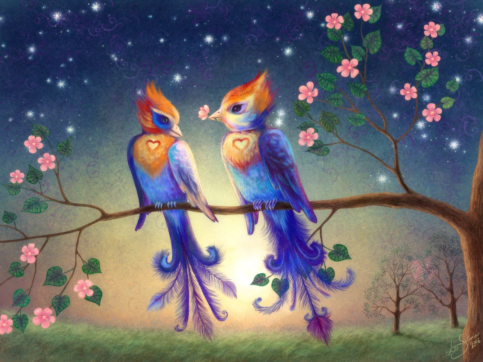 72499 download wallpaper Love, Branch, Couple, Pair, Picture, Drawing, Birds screensavers and pictures for free