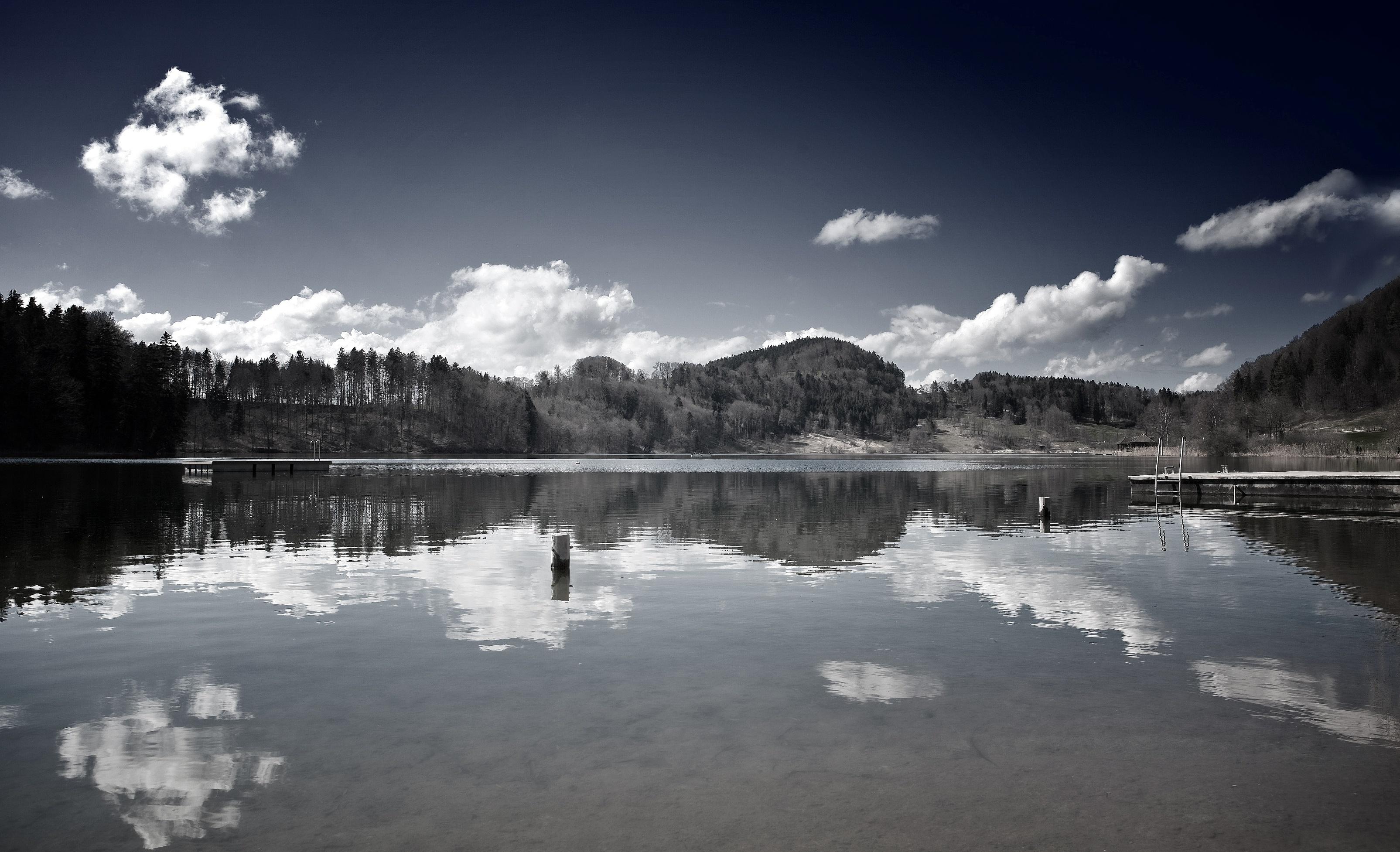 130534 baixar papel de parede Natureza, Lago, Preto E Branco, Serenidade, Montanhas - protetores de tela e imagens gratuitamente