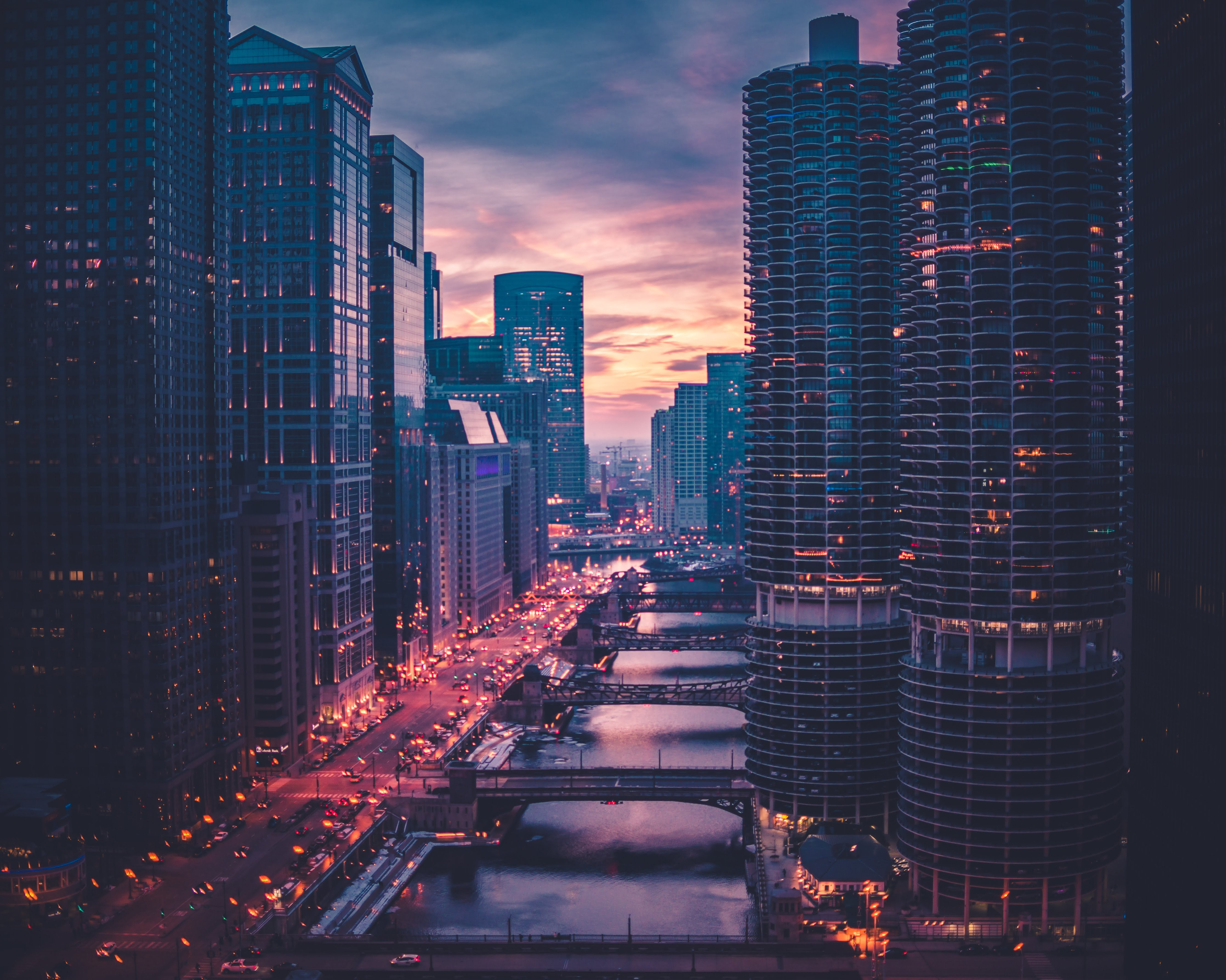 141653 download wallpaper Cities, Bridges, Skyscrapers, Evening, Chicago screensavers and pictures for free
