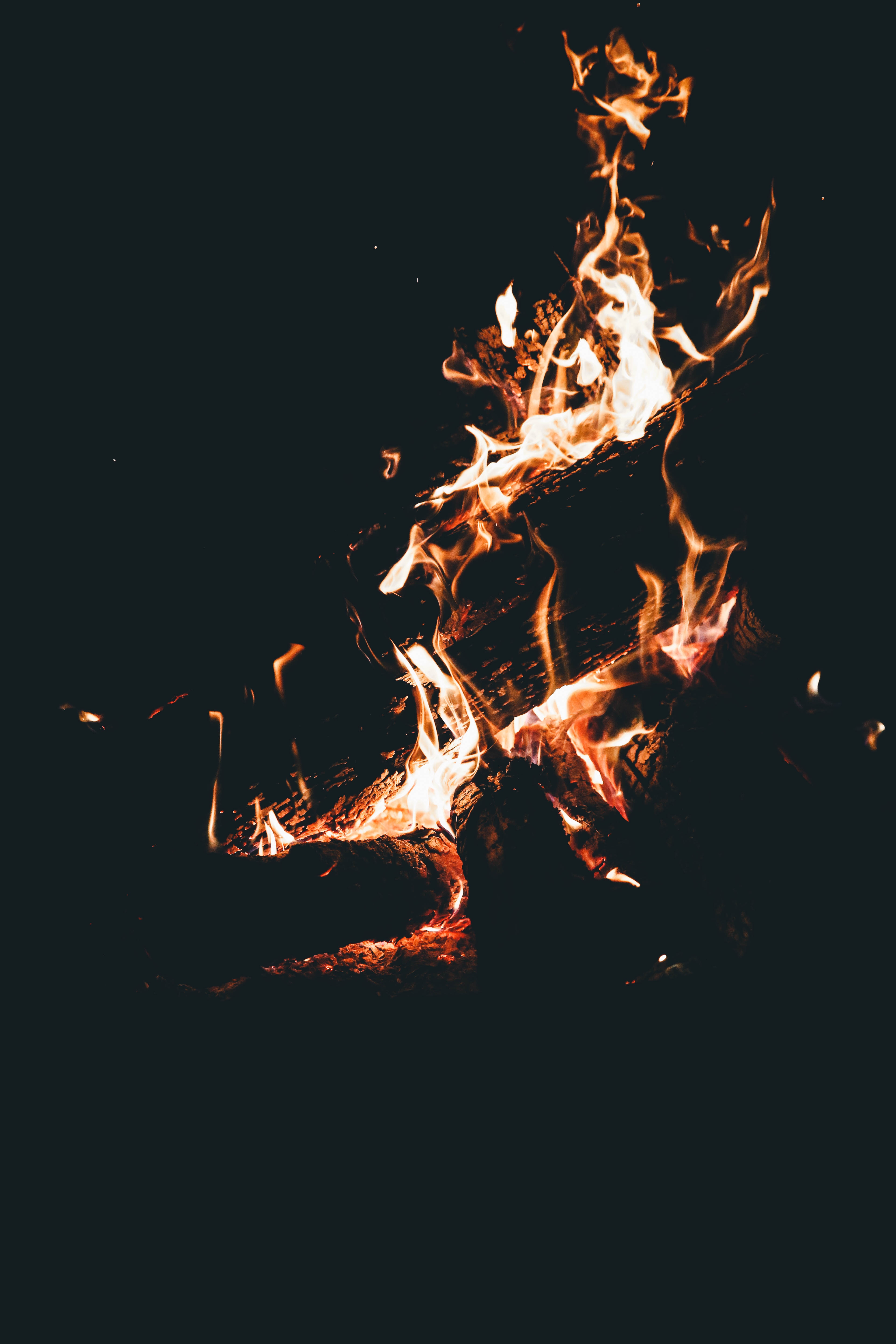 149141 Screensavers and Wallpapers Firewood for phone. Download Fire, Bonfire, Dark, Flame, Firewood, Camping, Campsite, Combustion pictures for free
