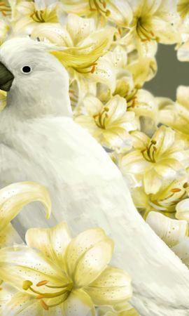 148174 скачать обои Попугаи, Птица, Лилии, Арт - заставки и картинки бесплатно