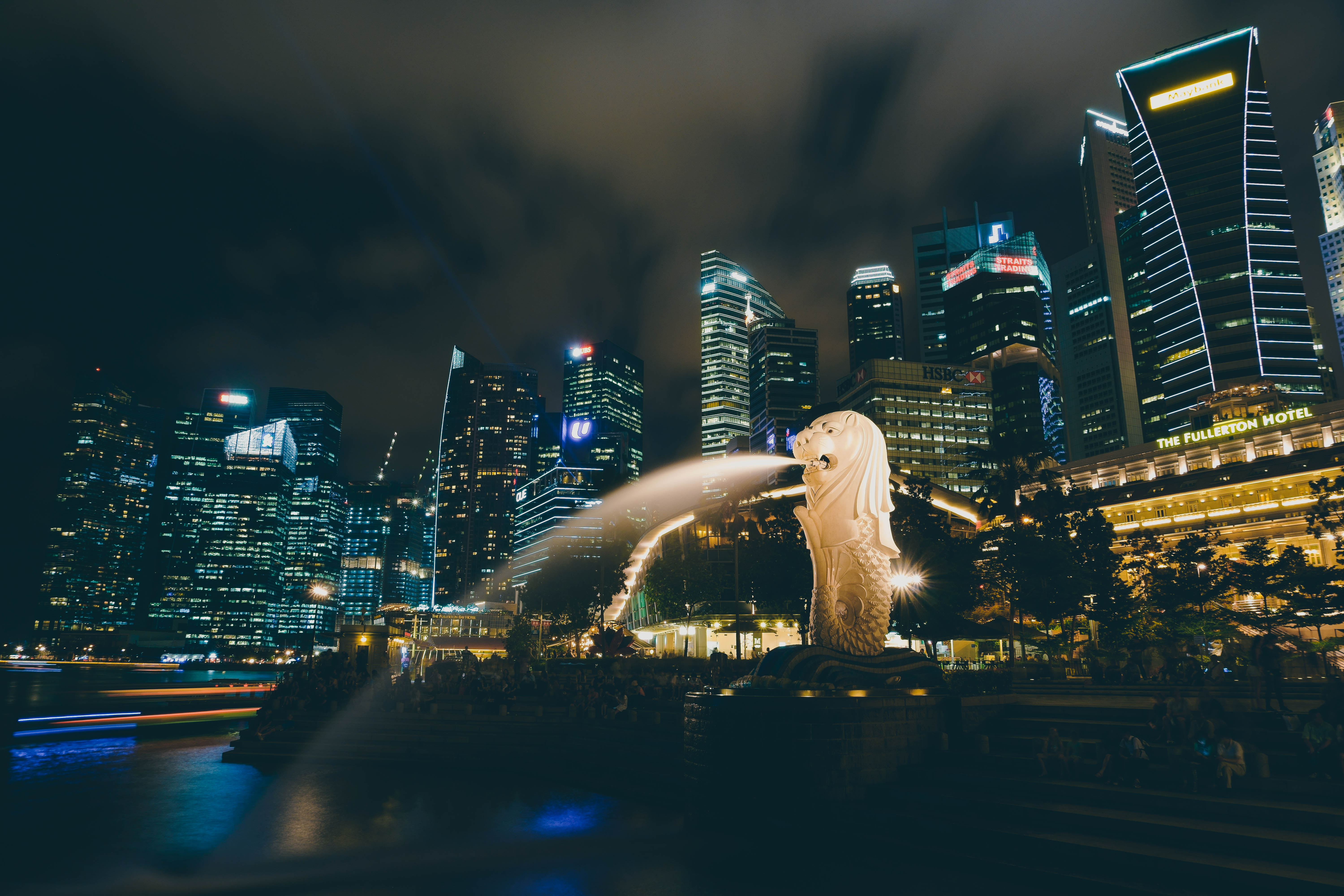 76675 Screensavers and Wallpapers Fountain for phone. Download Cities, Fountain, Skyscrapers, Singapore pictures for free