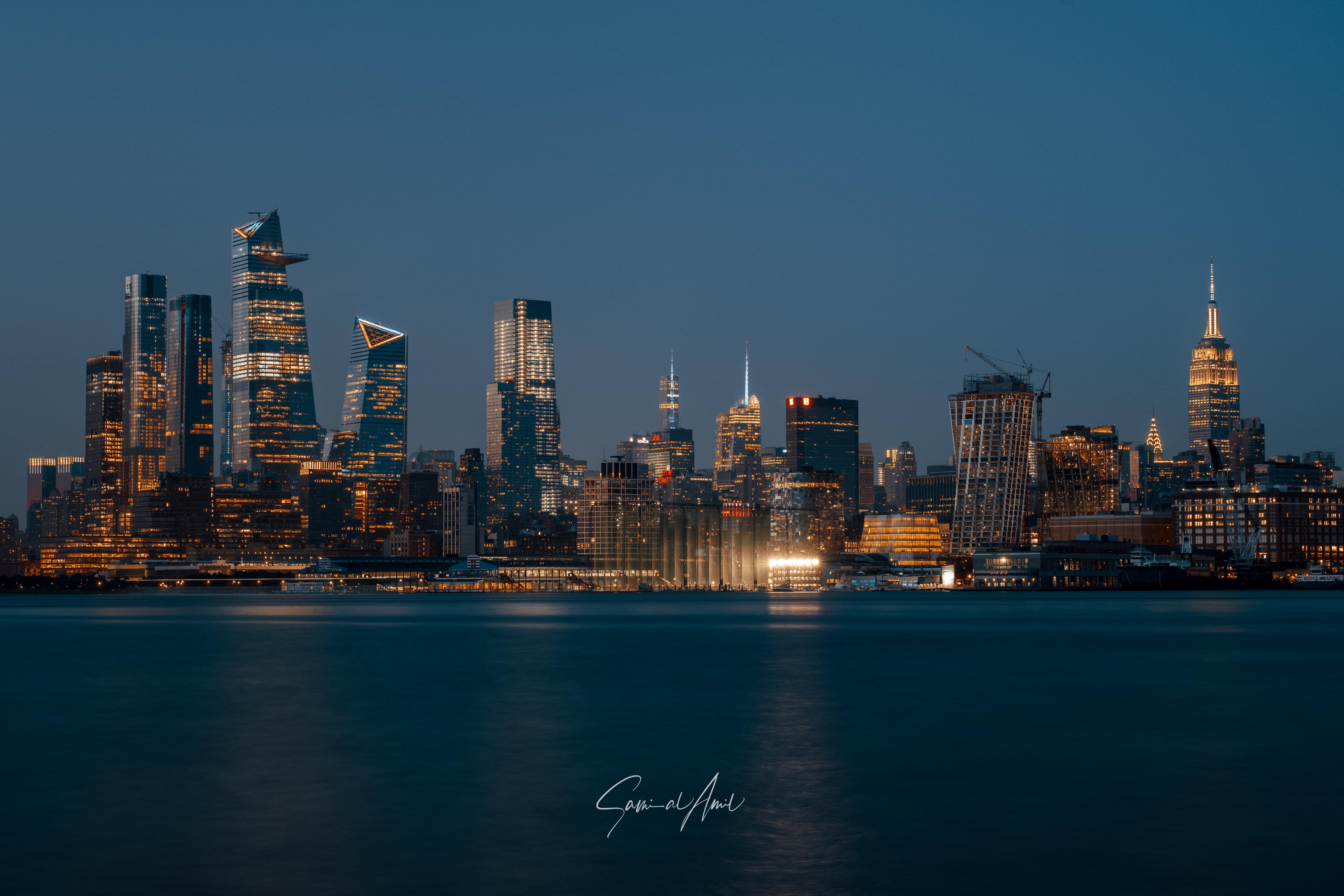 123248 скачать обои Архитектура, Города, Здания, Ночной Город, Панорама, Нью-Йорк - заставки и картинки бесплатно