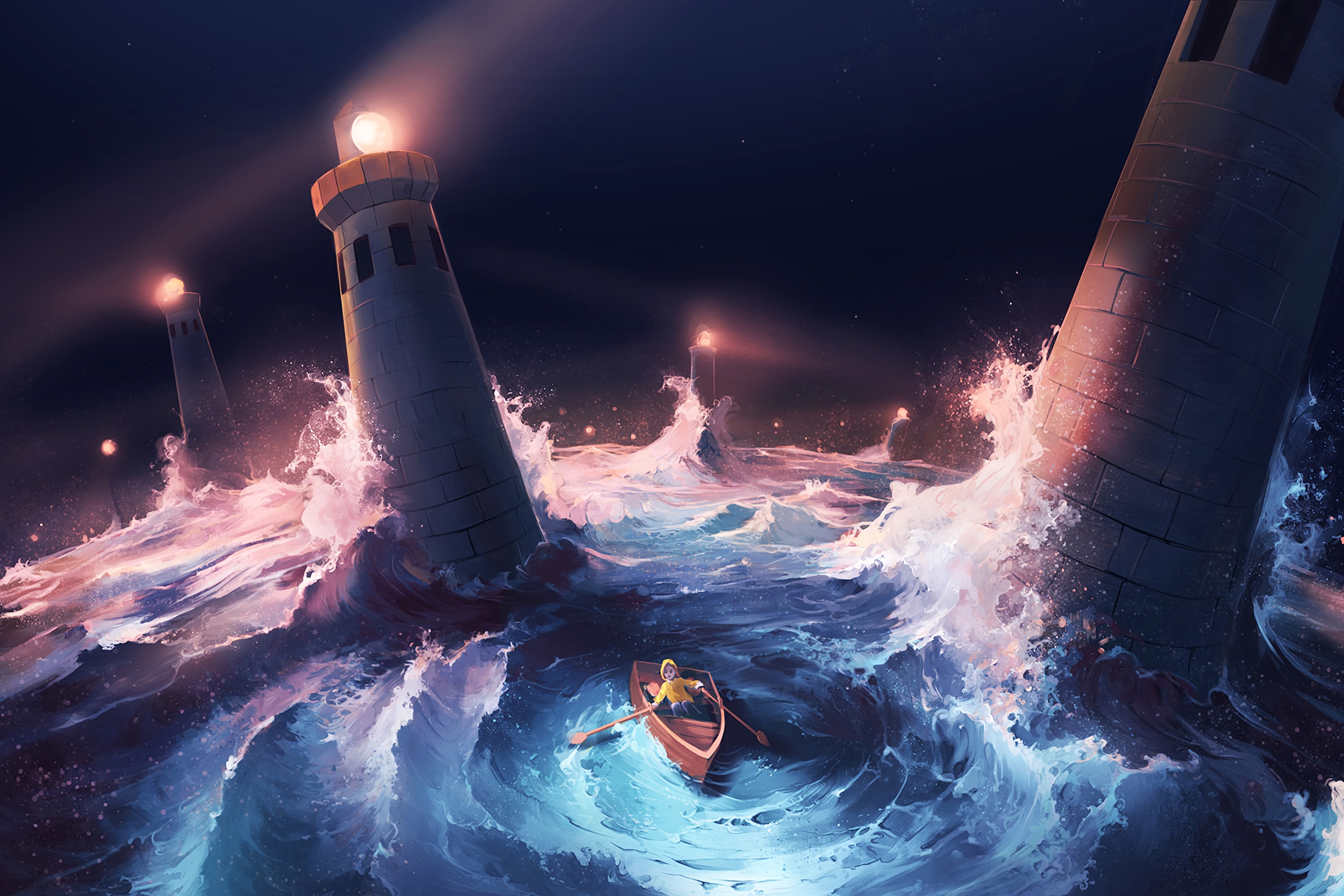 106937 Screensavers and Wallpapers Boat for phone. Download Art, Sea, Lighthouses, Boat, Storm pictures for free