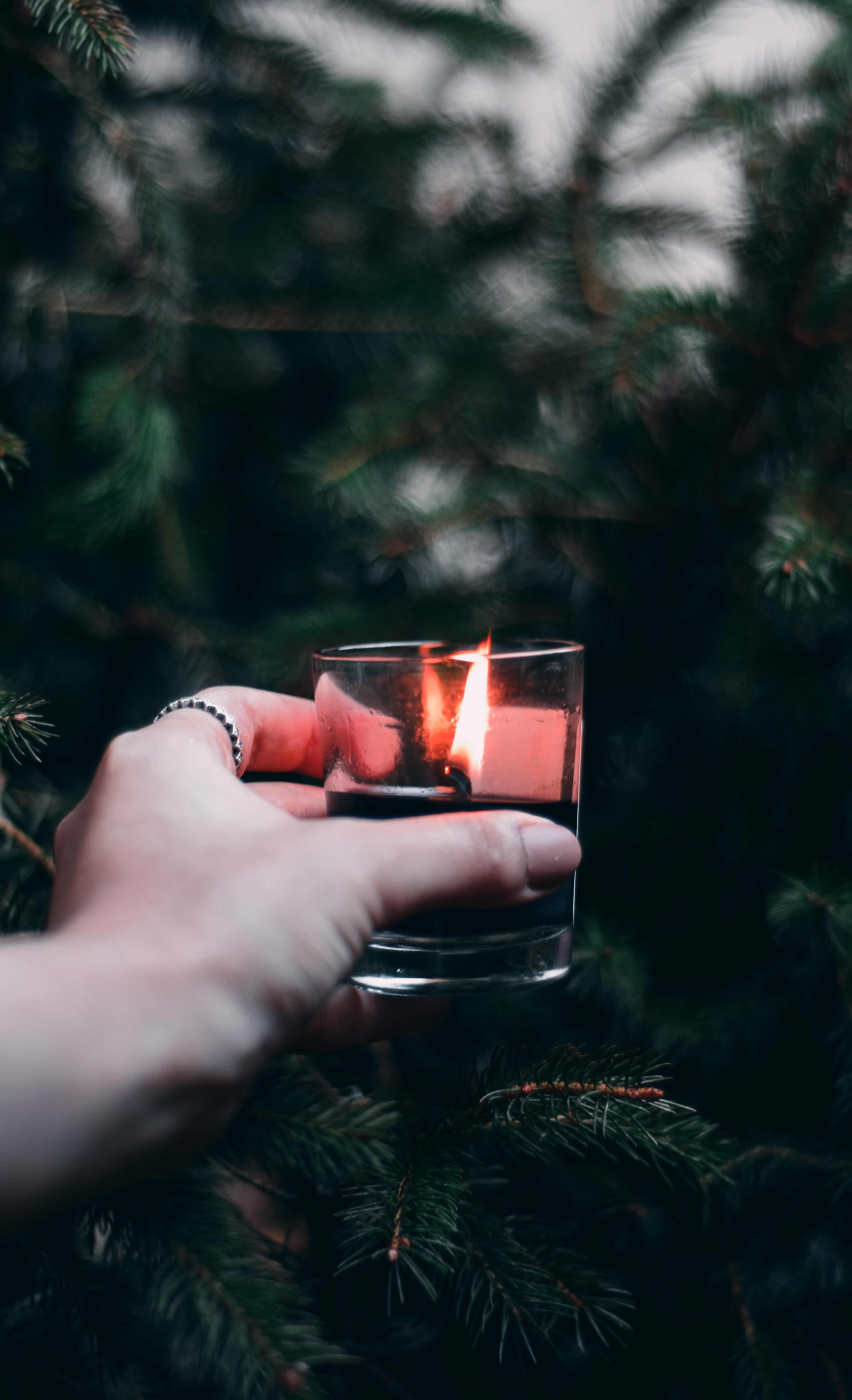 123320 download wallpaper Miscellaneous, Hand, Miscellanea, Branches, Christmas Tree, Candle screensavers and pictures for free