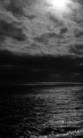 79807壁紙のダウンロード海, 地平線, Bw, Chb, 主に曇り, どんよりした, 雲, 波紋-スクリーンセーバーと写真を無料で
