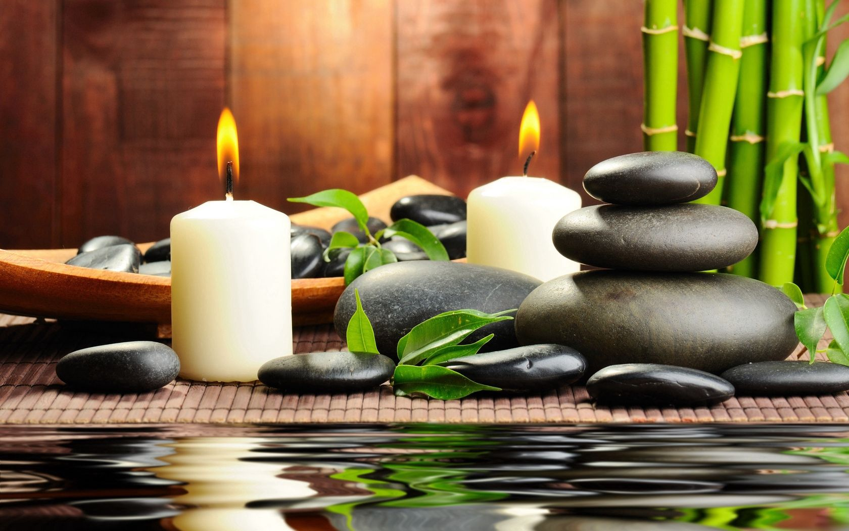 147087 download wallpaper Miscellanea, Miscellaneous, Stones, Candles, Aromatherapy, Spa, Water, Bamboo, Massage screensavers and pictures for free