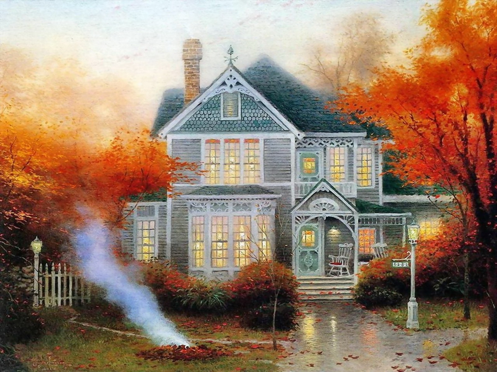 459 download wallpaper Landscape, Houses, Trees, Art, Autumn screensavers and pictures for free