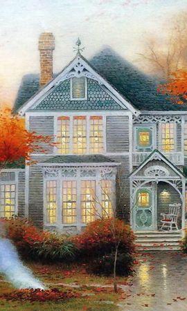 459 скачать обои Пейзаж, Дома, Деревья, Арт, Осень - заставки и картинки бесплатно
