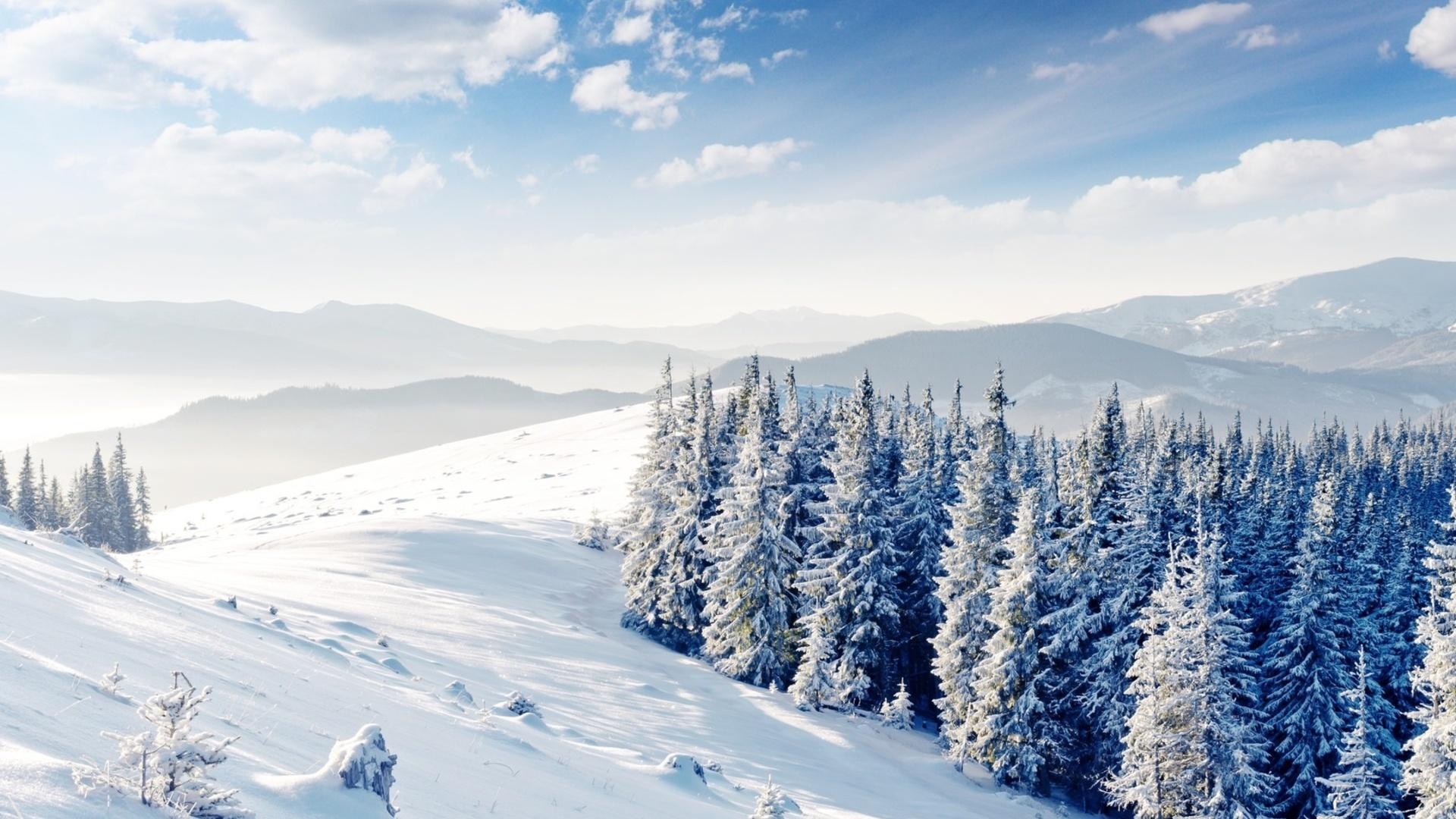 Скачать картинку Горы, Снег, Деревья, Пейзаж, Зима в телефон бесплатно.