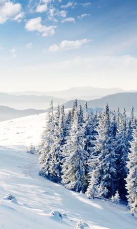 22146 скачать обои Пейзаж, Зима, Деревья, Горы, Снег - заставки и картинки бесплатно