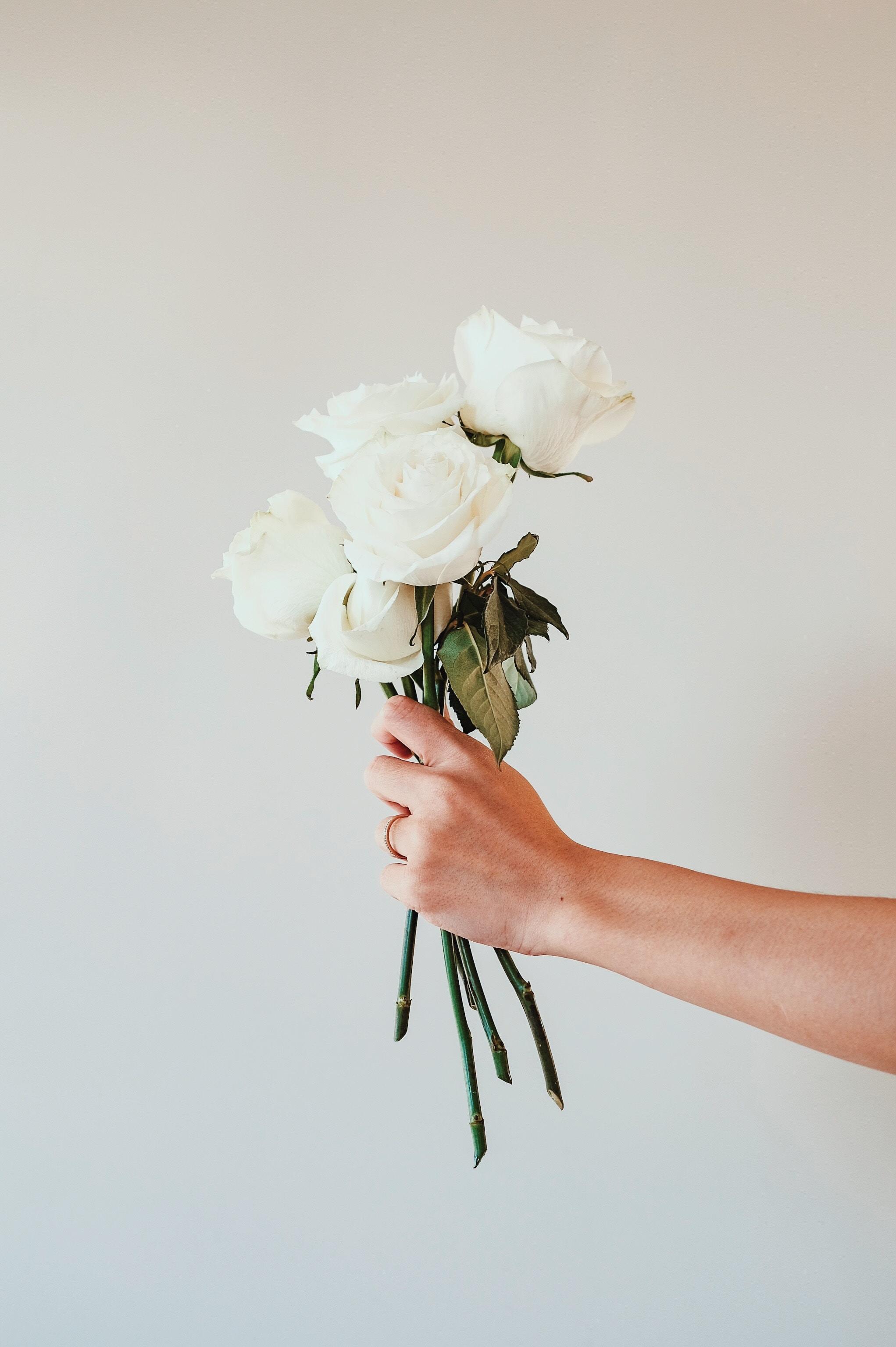 64858 скачать Белые обои на телефон бесплатно, Цветы, Розы, Рука, Букет Белые картинки и заставки на мобильный