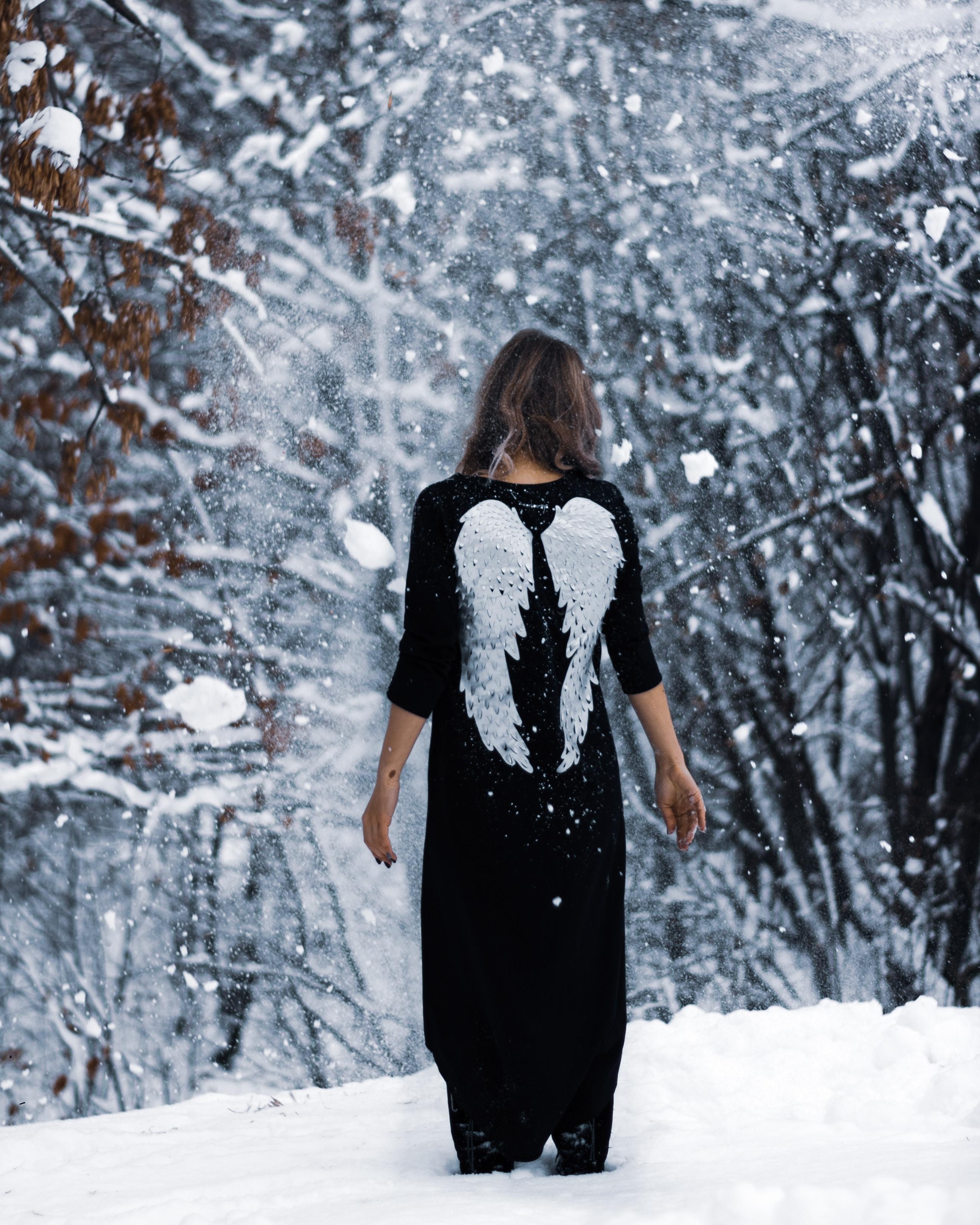 60424 Hintergrundbild herunterladen Engel, Winterreifen, Mädchen, Verschiedenes, Sonstige, Wald, Flügel, Garten - Bildschirmschoner und Bilder kostenlos