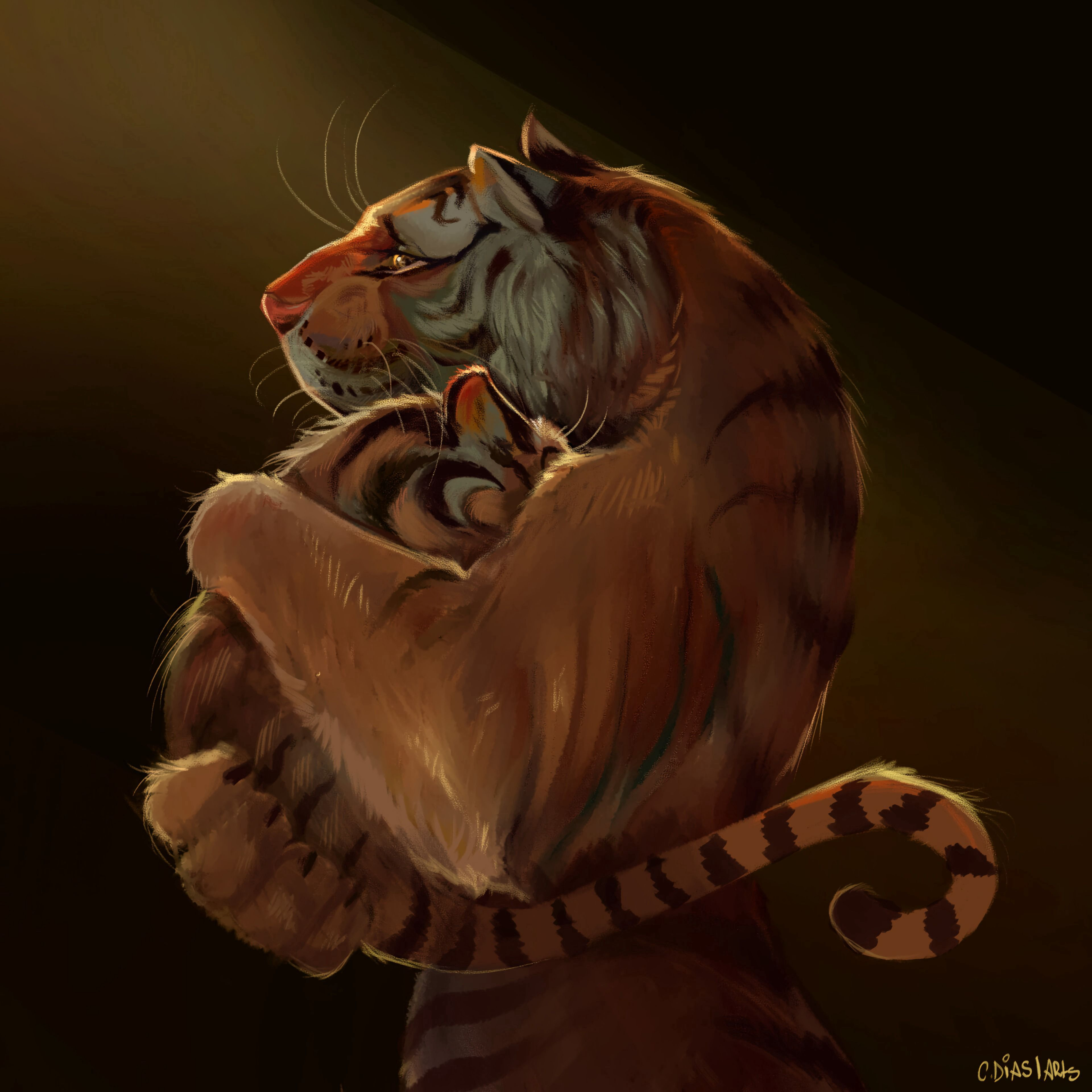 114021 download wallpaper Tiger Cub, Tiger, Embrace, Art, Tigers screensavers and pictures for free