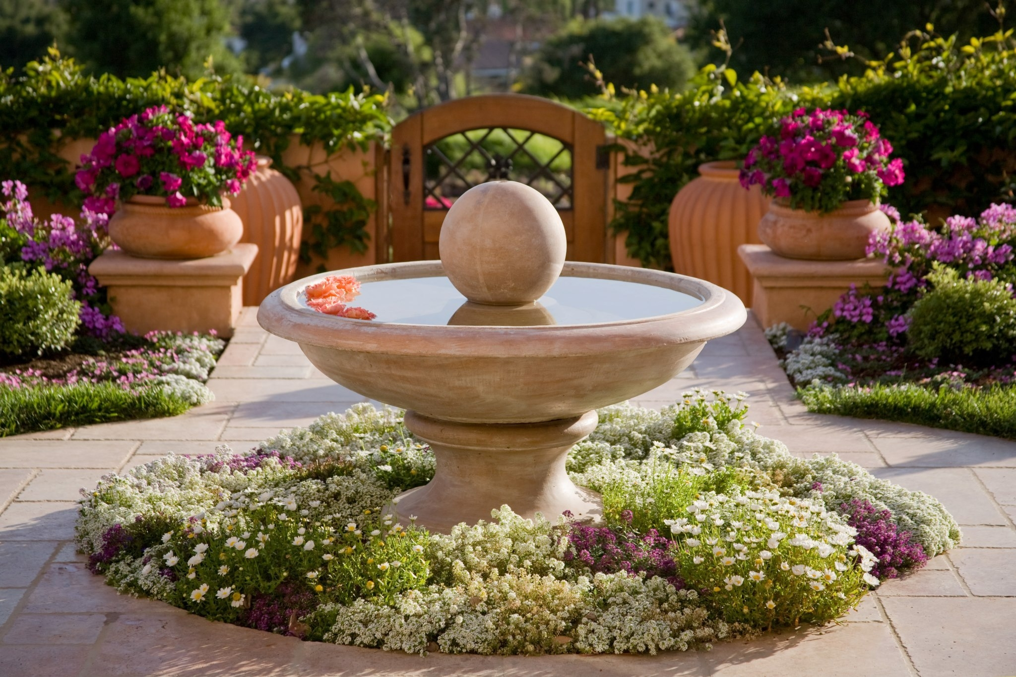 157493 Screensavers and Wallpapers Fountain for phone. Download Landscape, Nature, Flowers, Fountain, Design pictures for free