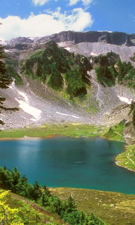 2186 download wallpaper Landscape, Mountains, Fir-Trees, Lakes screensavers and pictures for free