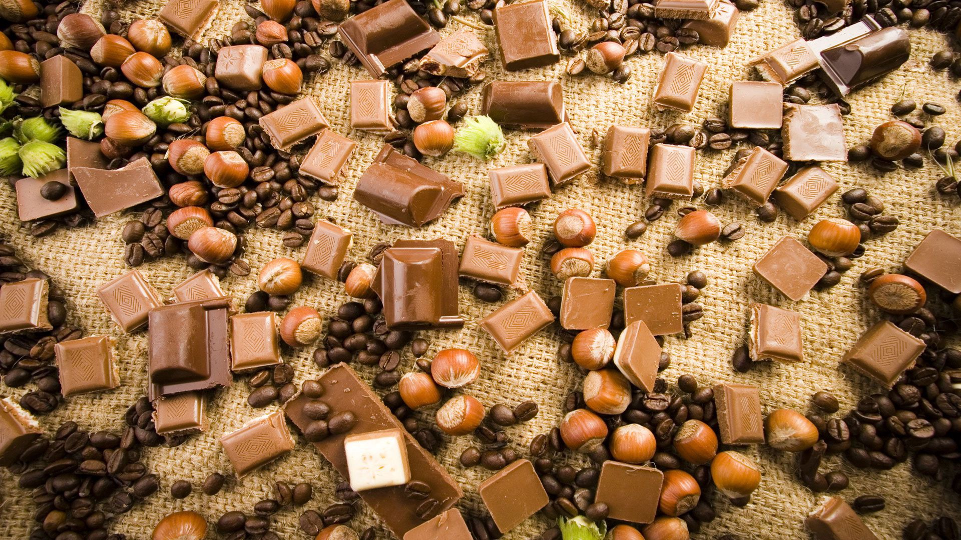 134137 download wallpaper Food, Chocolate, Nuts, Coffee, Tiles, Varieties screensavers and pictures for free