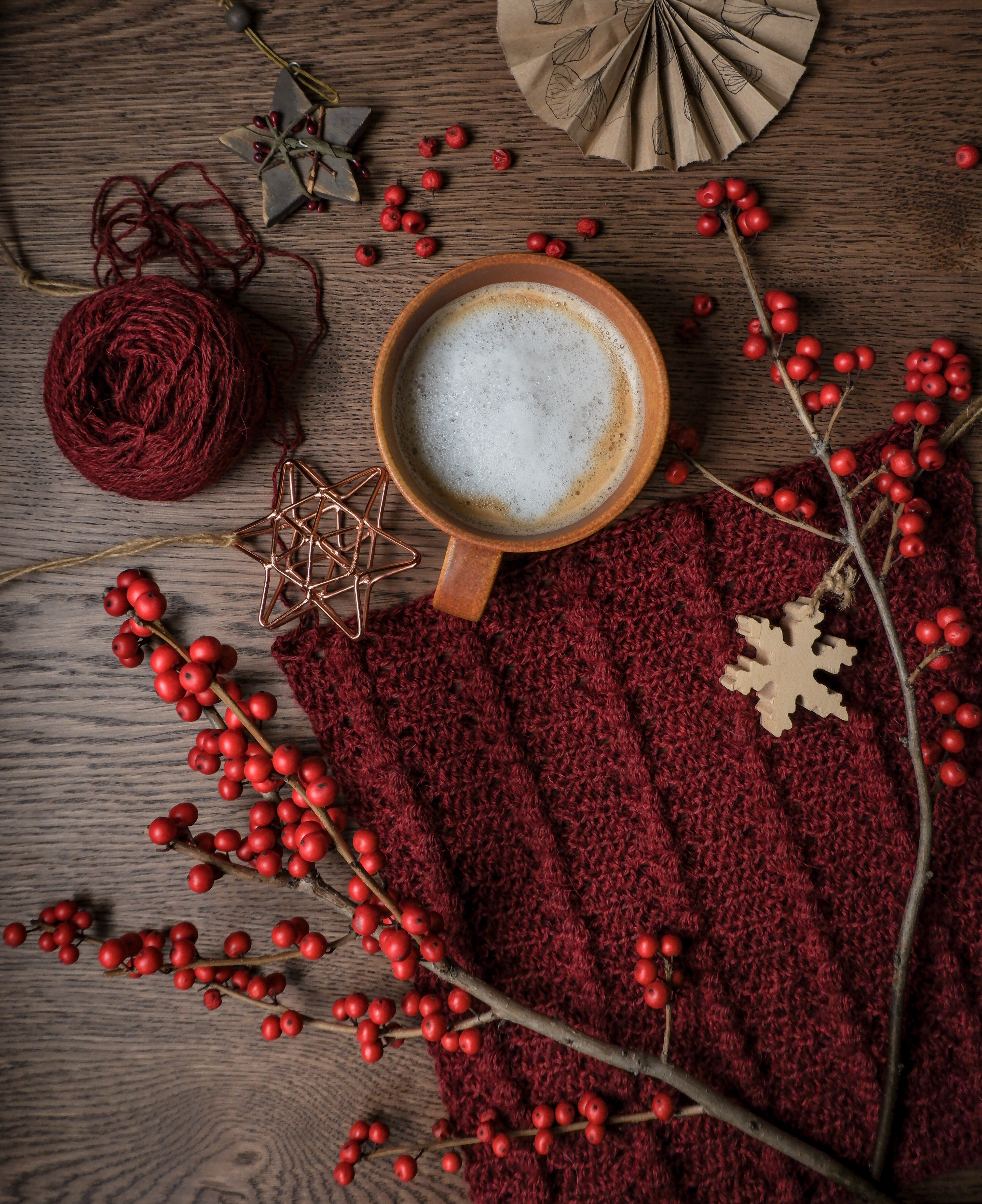 79289 download wallpaper Food, Cup, Mug, Coffee, Branches, Berries screensavers and pictures for free