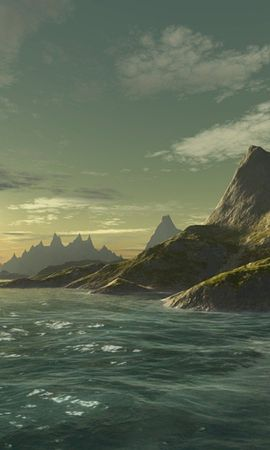 11051 download wallpaper Landscape, Background, Mountains, Sea screensavers and pictures for free