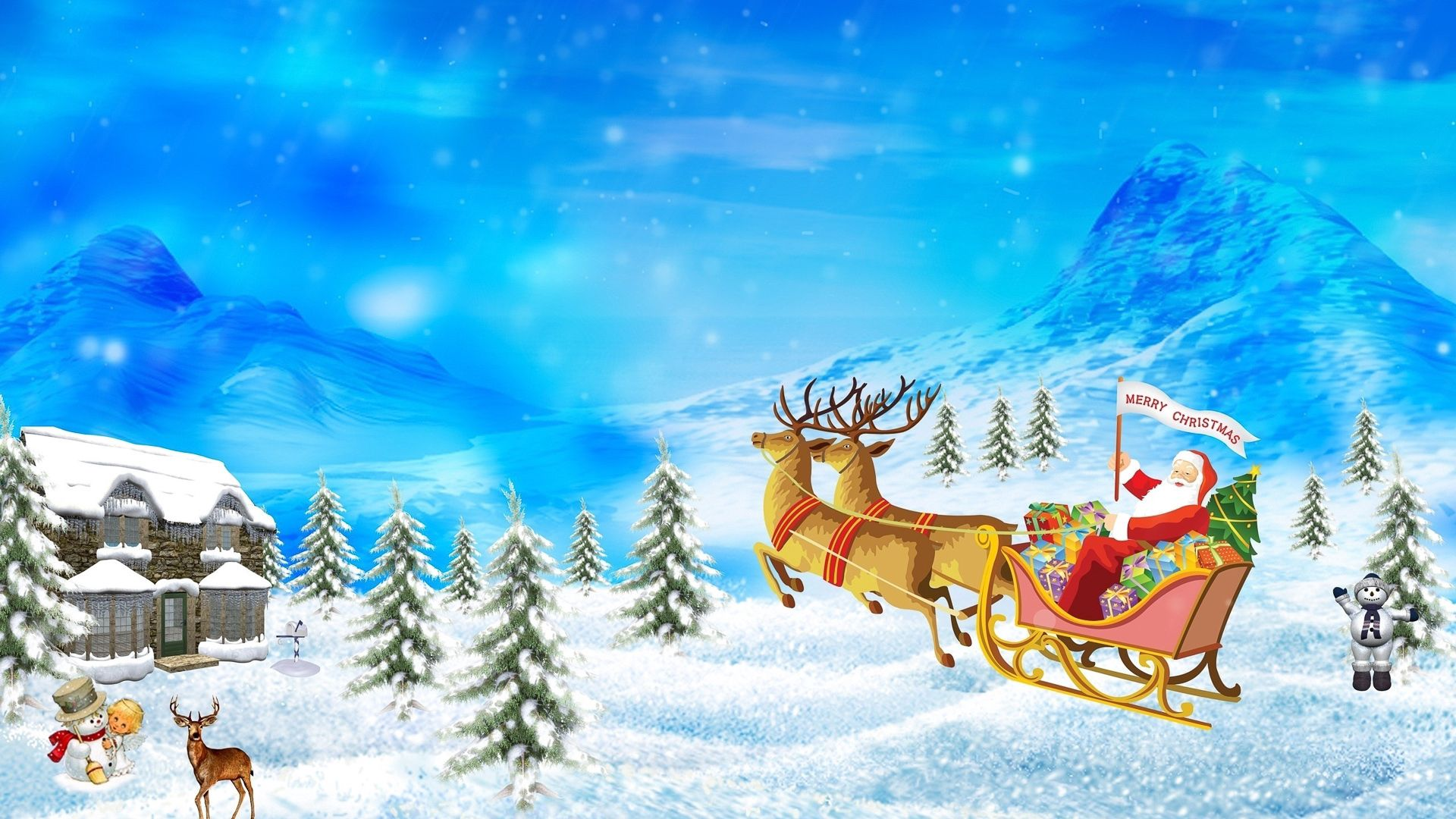 91552 download wallpaper Holidays, Santa Claus, New Year, Christmas, Presents, Gifts, Deers screensavers and pictures for free