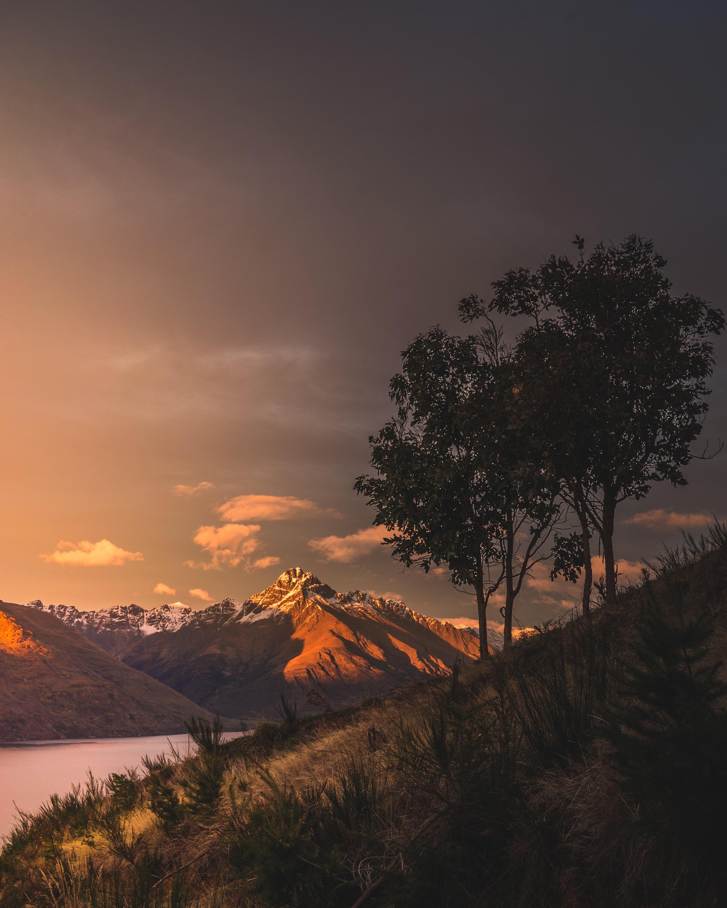 122156 télécharger le fond d'écran Nature, Coucher De Soleil, Herbe, Montagnes, Lac, Nouvelle-Zélande - économiseurs d'écran et images gratuitement