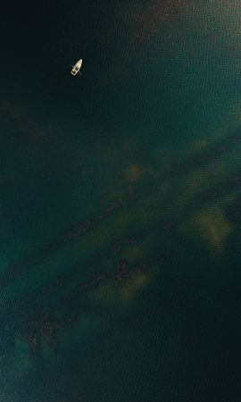 147458 download wallpaper Minimalism, Sea, Boat, View From Above, Ripples, Ripple, Water screensavers and pictures for free