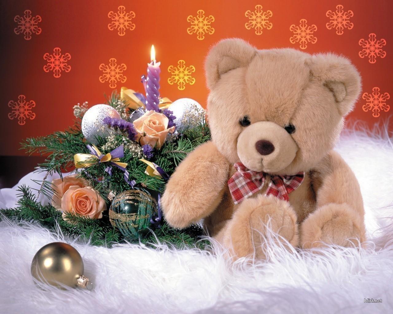 2235 скачать обои Праздники, Новый Год (New Year), Игрушки, Медведи, Рождество (Christmas, Xmas), Свечи - заставки и картинки бесплатно