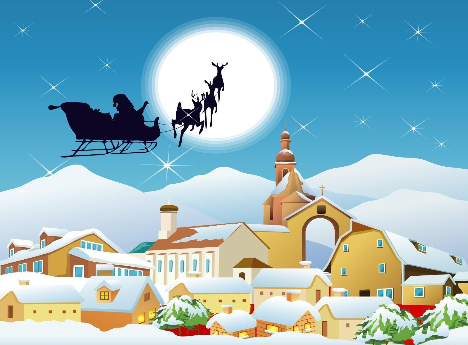63060 descargar fondo de pantalla Vacaciones, Papá Noel, Trineo, Vuelo, Luna, Ciudad, Casas: protectores de pantalla e imágenes gratis