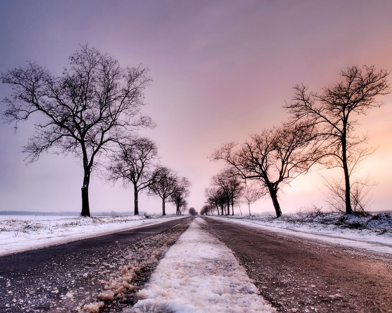 8243 скачать обои Пейзаж, Зима, Деревья, Дороги - заставки и картинки бесплатно