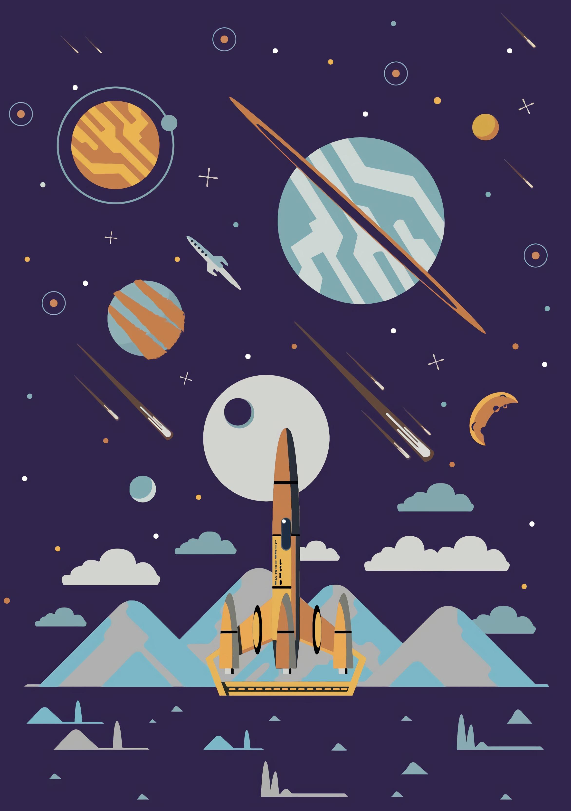 98339 Hintergrundbild herunterladen Planets, Kunst, Universum, Sterne, Vektor, Rakete, Raketen - Bildschirmschoner und Bilder kostenlos