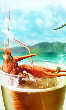 3679 download wallpaper Funny, Summer, Beer, Crayfish screensavers and pictures for free