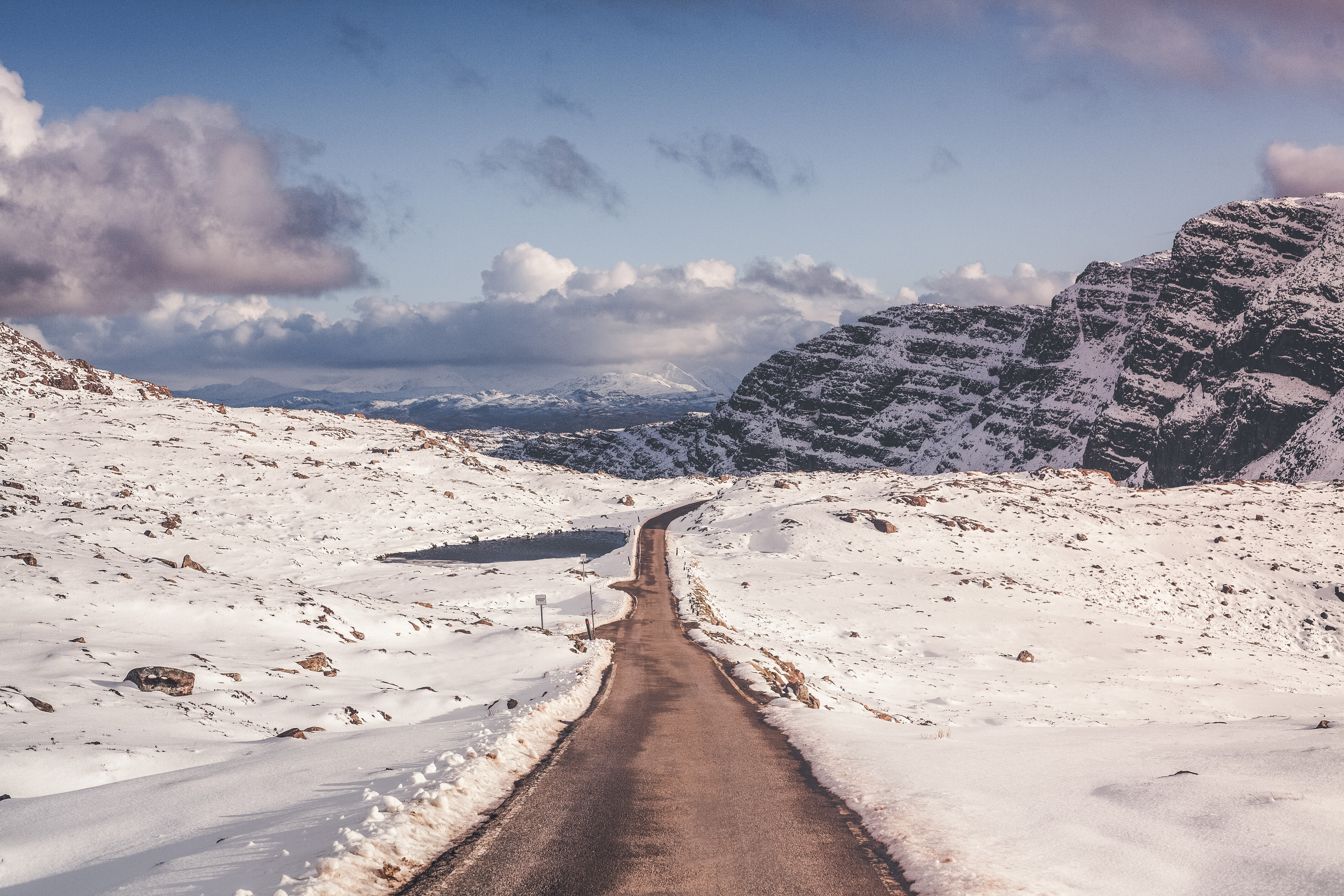 118057 Screensavers and Wallpapers Road for phone. Download Nature, Mountains, Snow, Road, Turn pictures for free