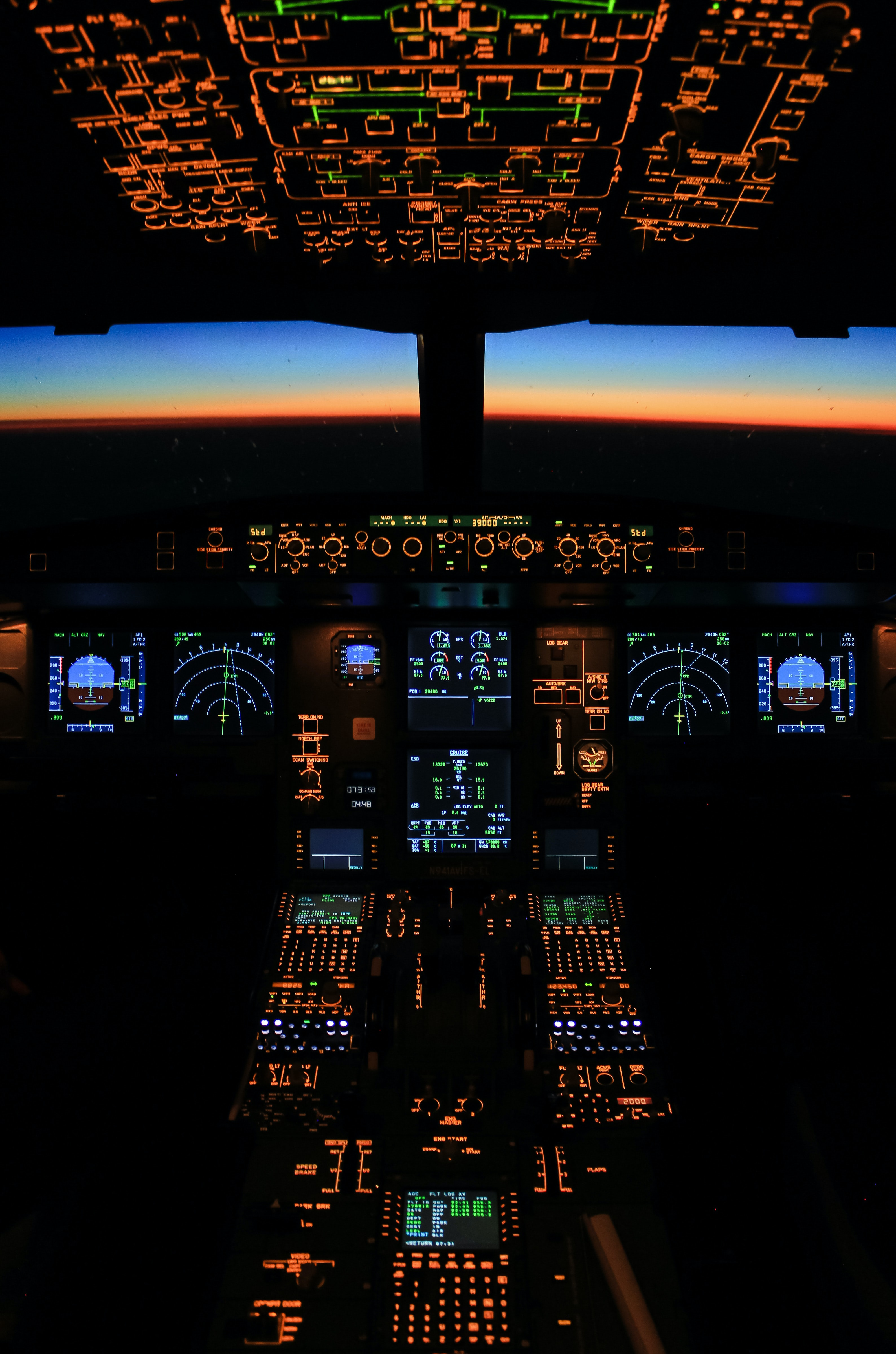 100101 download wallpaper Technology, Evening, Plane, Airplane, Buttons, Technologies, Panel, Cabin, Display screensavers and pictures for free