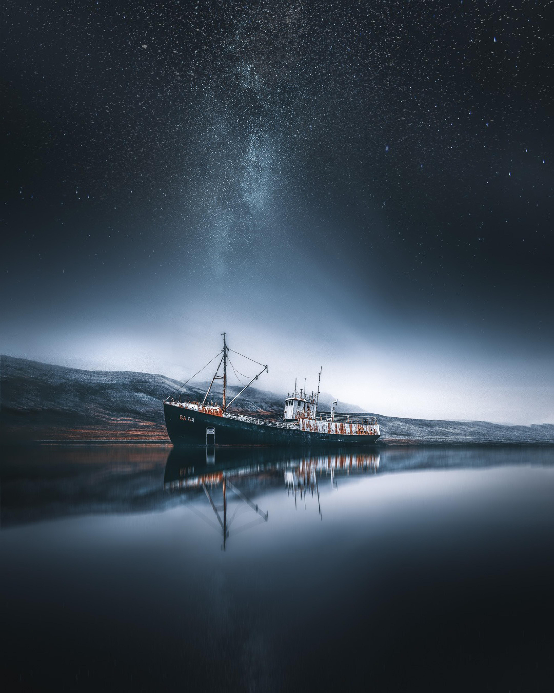 112456壁紙のダウンロード自然, 輸送する, 船, ベイ, 湾, 天の川, アイスランド-スクリーンセーバーと写真を無料で