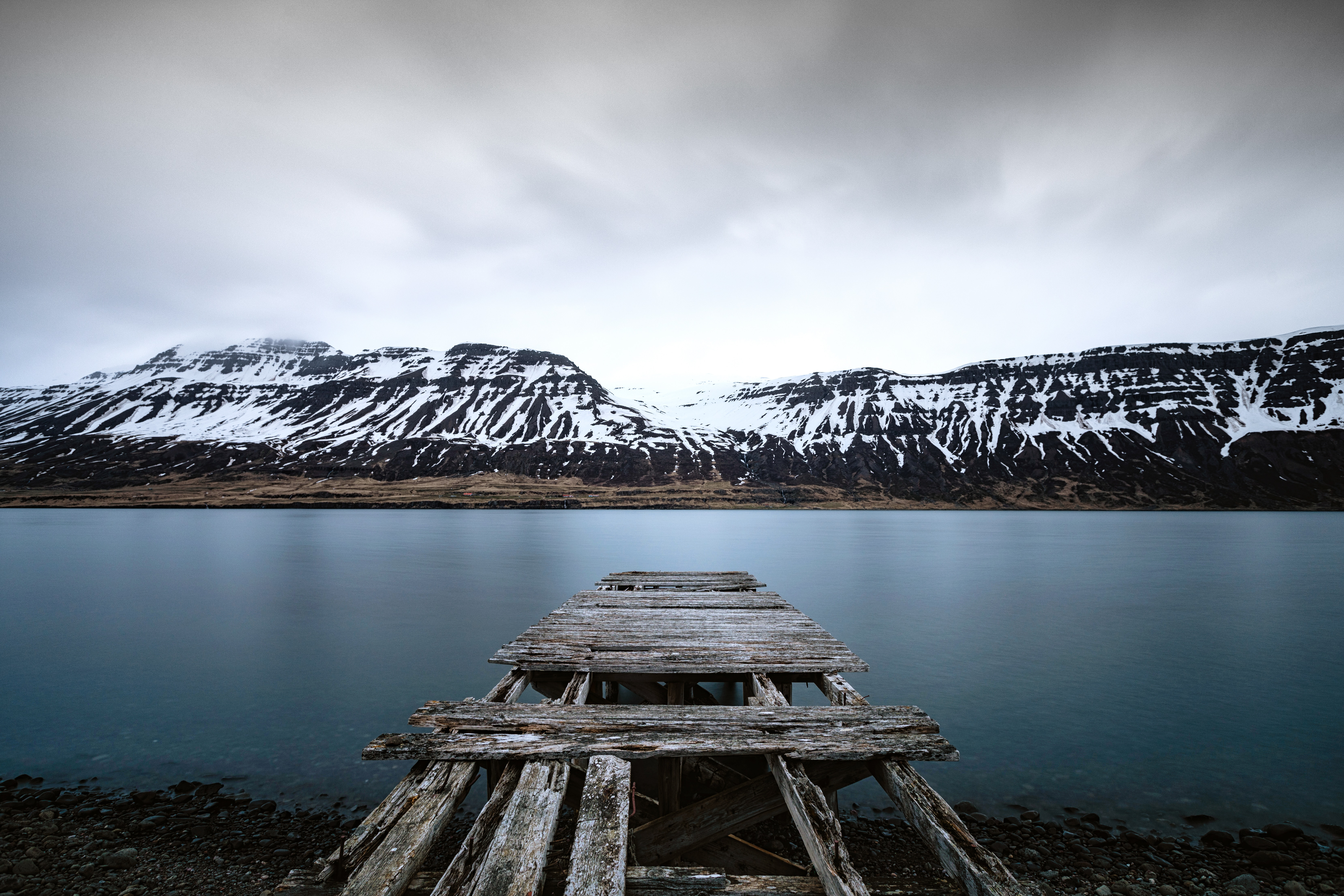 102339 download wallpaper Landscape, Nature, Mountains, Lake, Shore, Bank, Pier, Snow Covered, Snowbound screensavers and pictures for free