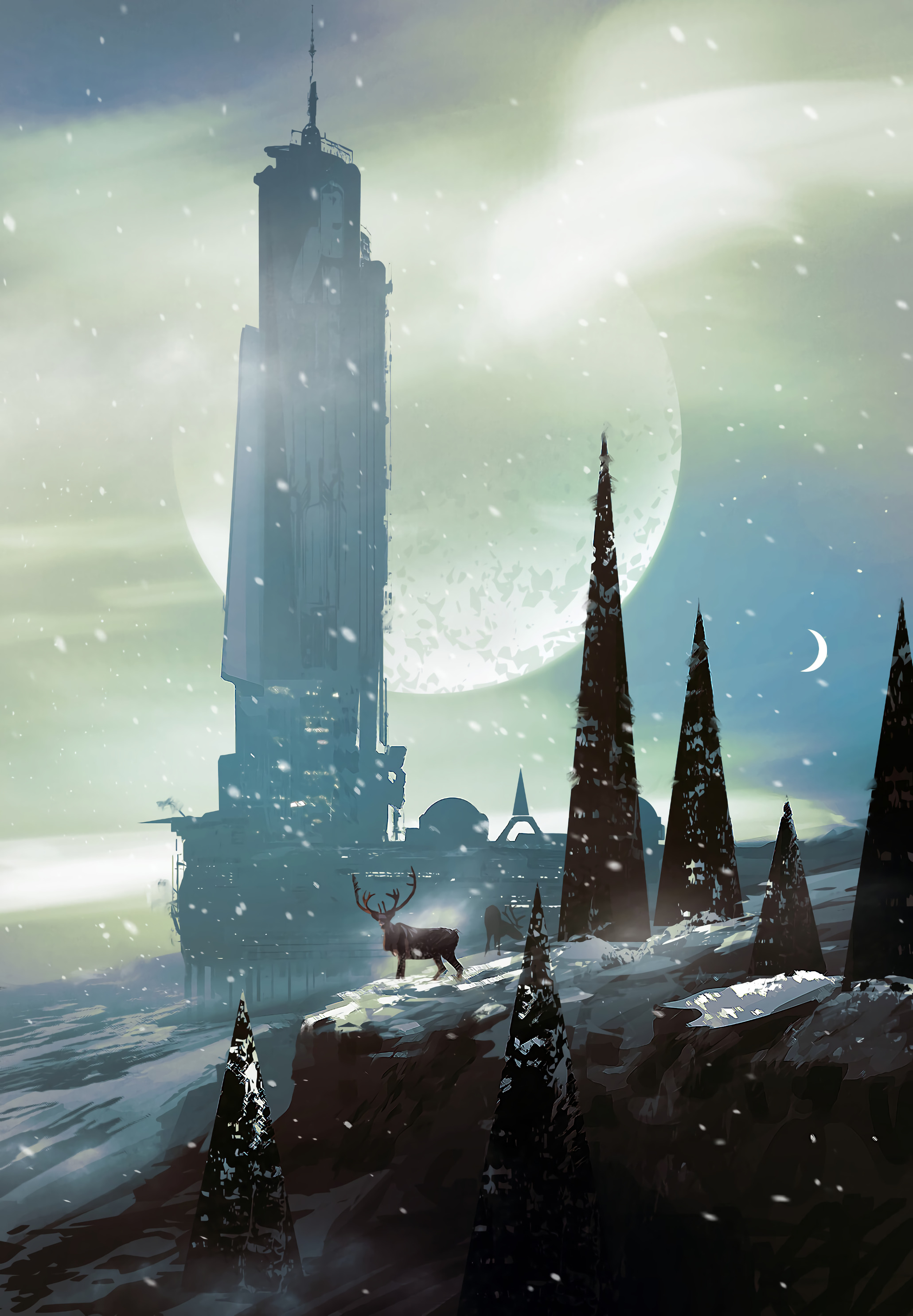 50873 download wallpaper Deers, Trees, Building, Snow, Sci-Fi, Art screensavers and pictures for free