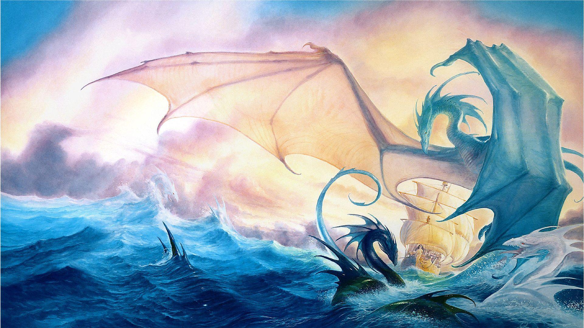 157876 Hintergrundbild herunterladen Fantasie, Dragons, Sea, Waves, Schiff - Bildschirmschoner und Bilder kostenlos
