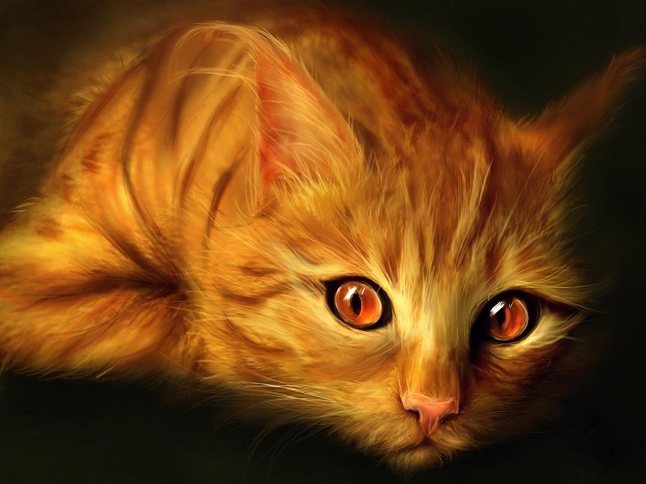 29657 скачать обои Животные, Кошки (Коты, Котики), Рисунки - заставки и картинки бесплатно