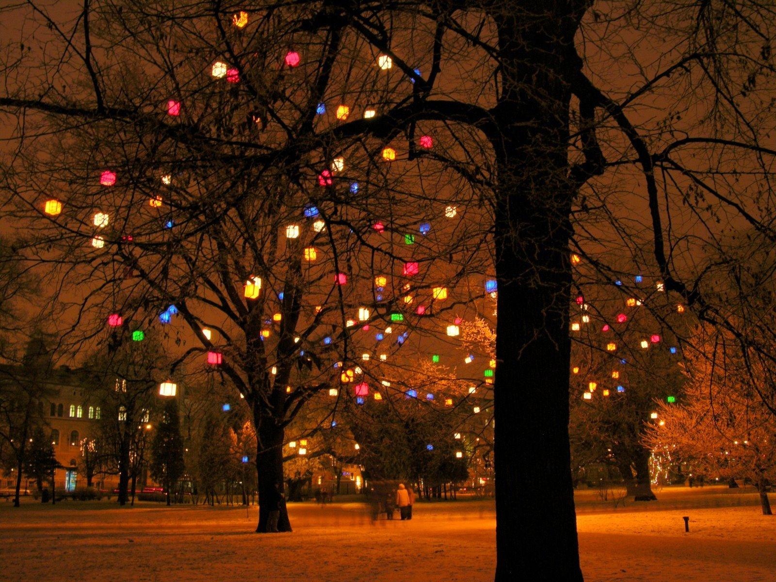 14070 скачать обои Новый Год (New Year), Пейзаж, Праздники, Деревья, Фон, Рождество (Christmas, Xmas) - заставки и картинки бесплатно