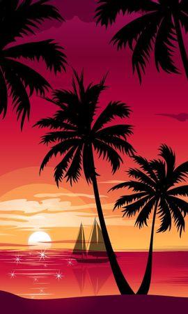 9747 завантажити шпалери Пейзаж, Захід, Пальми, Малюнки - заставки і картинки безкоштовно