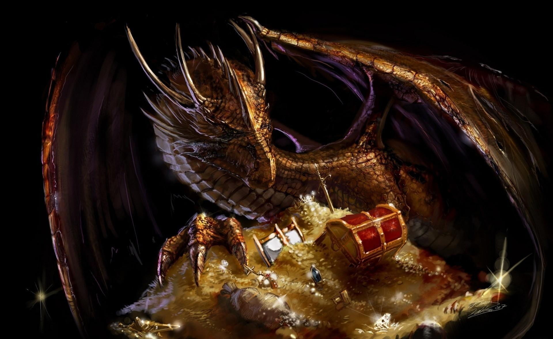 51484 download wallpaper Fantasy, Dragon, Treasure, Gold screensavers and pictures for free